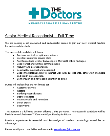 cairns rn 24 hr medical receptionist s mulgrave road